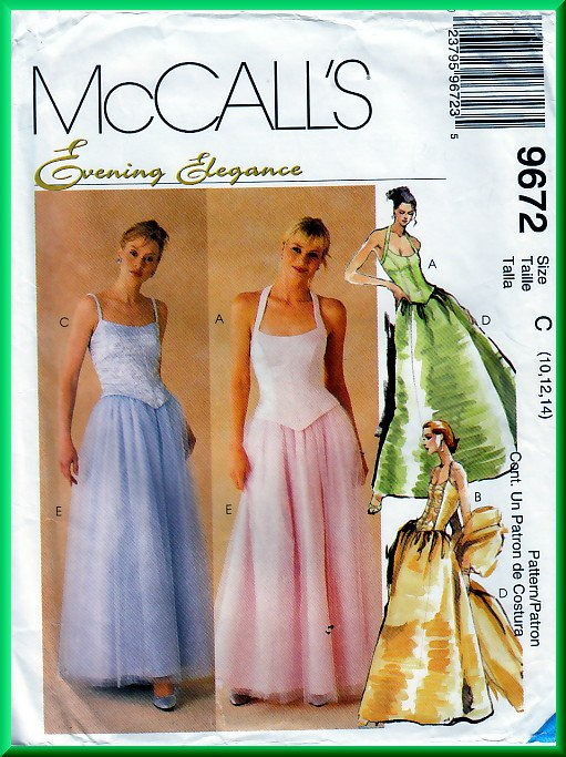 McCall's 9672 CUT Sewing Pattern Sz 12 Misses' Princess Bustier Evening Puffy Full Ballgown Skirt