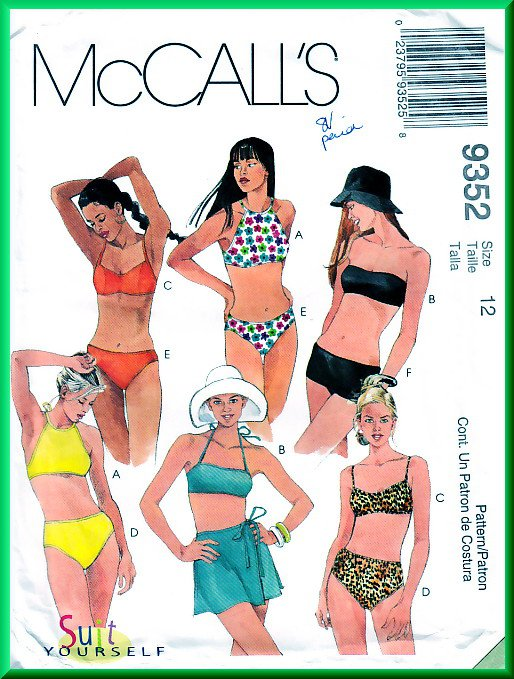 McCall\'s 9352 CUT Sewing Pattern Sz 12 Misses\' Two Piece Swimsuits ...