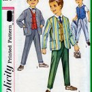 Simplicity 4836 CUT Vintage Sewing Pattern Sz 6 Boys' Suit Jacket Blazer Vest Pants Trousers Formal