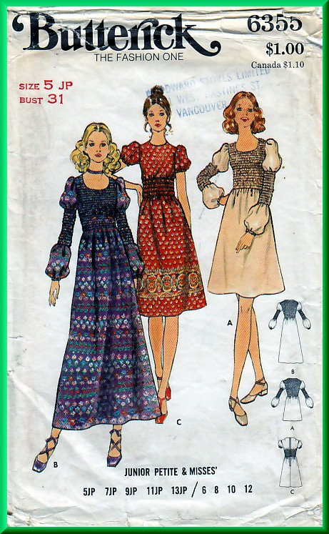 Butterick 6355 CUT Vintage Sewing Pattern Sz 5JP Juniors' Petites' Dress Short Long Smocked Bodice