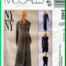 McCall's 2465 CUT Sewing Pattern Sz 14 Misses' Coat Dress Empire Waist Notched Collar Flared Pants