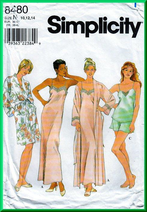 Simplicity 8480 CUT Sewing Pattern Sz 12 Misses' Sleepwear Lounge Wear Camisole Long Slip Robe Short