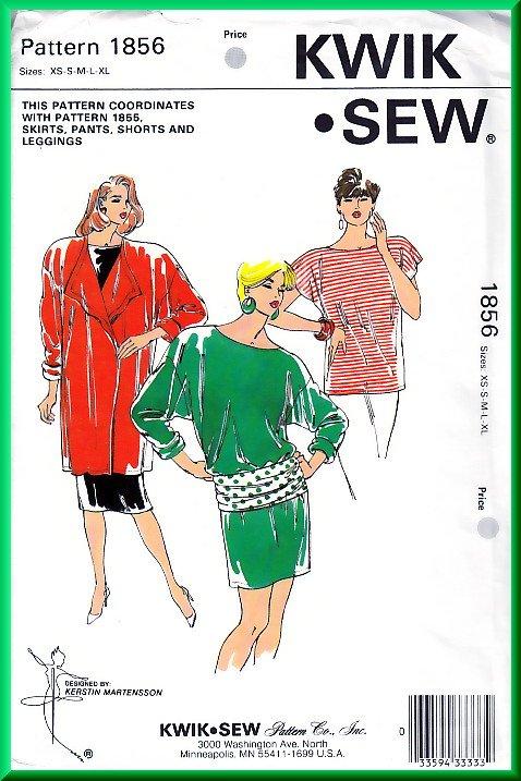 Kwik Sew 1856 Vintage Sewing Pattern Sz XS-XL Knit Coordinates Jacket Dress Tunic Belt Retro 80s Fun