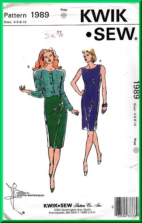Kwik Sew 1989 Sewing Pattern Sz 4-10 Misses' Sheath Dress Fitted Princess Seams Bolero Jacket Suit