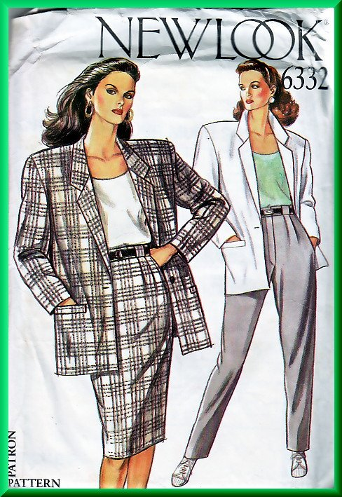 New Look 6332 Sewing Pattern Sz 8-18 Retro Power Suit Boxy Blazer  Slim Skirt Pleated Trouser Pants