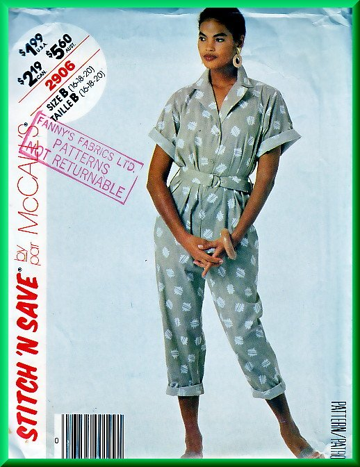 McCall's 2906 Vintage Sewing Pattern Sz 16-20 80s Retro Jumpsuit Sporty Short Sleeves Notched Collar