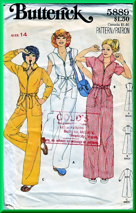 Butterick 5889 Vintage Sewing Pattern Sz 14 Retro 70s Long Jumpsuit Funky Belted Zipper Front Collar
