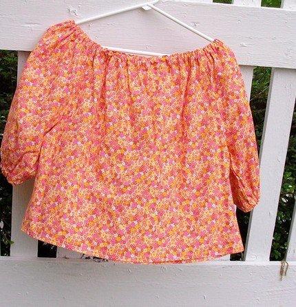 Peasant Blouse - Orange Floral