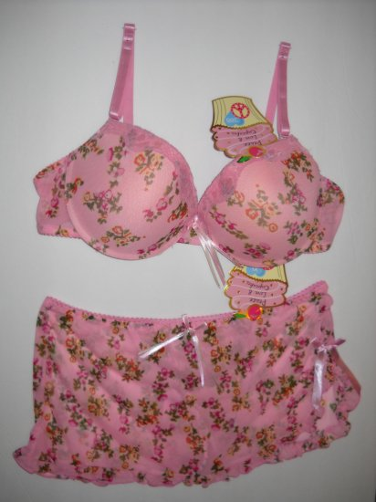 LADY Q BRA & PANTY SET  (PINK)  (38B & XL)