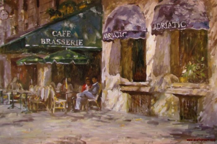 LEONARD WREN CAFE BRASSERIE PARIS FRANCE EMBELL CANVAS