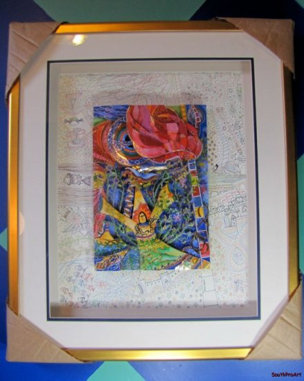 "RAPHAEL ABECASSIS BURNING BUSH Jewish 3D ORIG 26"" Frame"