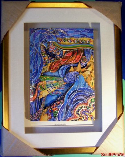RAPHAEL ABECASSIS~EXODUS~Jewish 3-D DEPOCAL Gold Framed