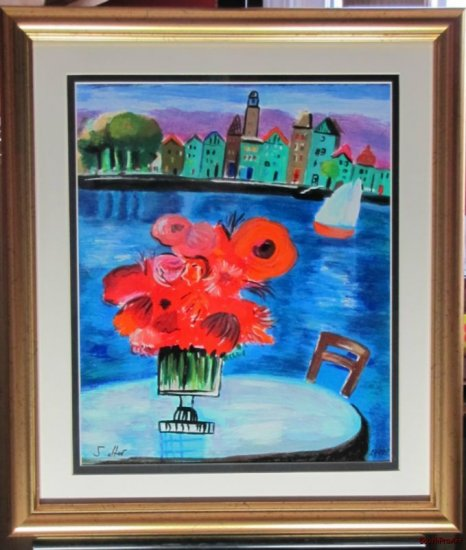 SHLOMO ALTER RED FLOWERS Jewish Vase park lake view HS#