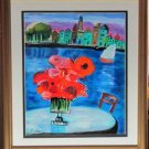 SHLOMO ALTER RED FLOWERS Jewish Vase park lake view HS#