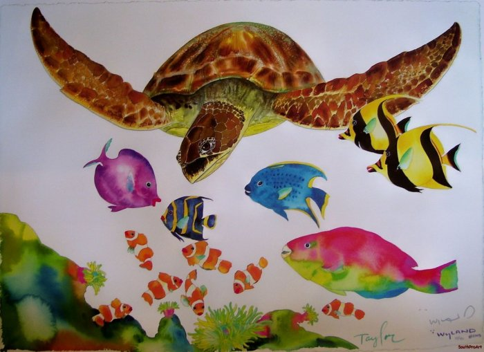 WYLAND~SOMETHING FISHEE~sea turtle fish HS# CANVAS COA