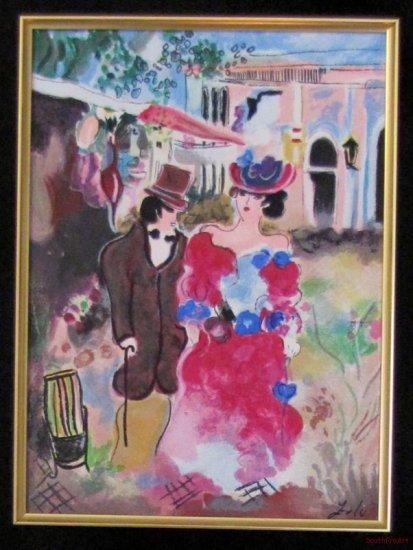 ZULE NEW ROMANCE Jewish Tarkay tophat framed canvas HS#