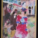 ZULE NEW ROMANCE Jewish Tarkay tophat framed canvas HS#