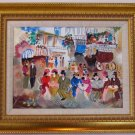 ZULE~OLD BAKERY~Jewish Tarkay framed gold canvas HS
