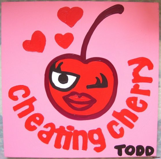TODD GOLDMAN CHEATING CHERRY PAINTING Stretched CANVAS