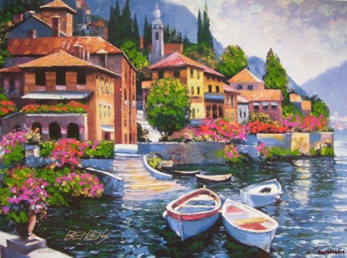 LAKE COMO HOWARD BEHRENS EMBELLISHD CANVAS Boat Italy