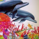 WYLAND~SEA OF COLOR~DOLPHIN lion fish HS&# CANVAS COA
