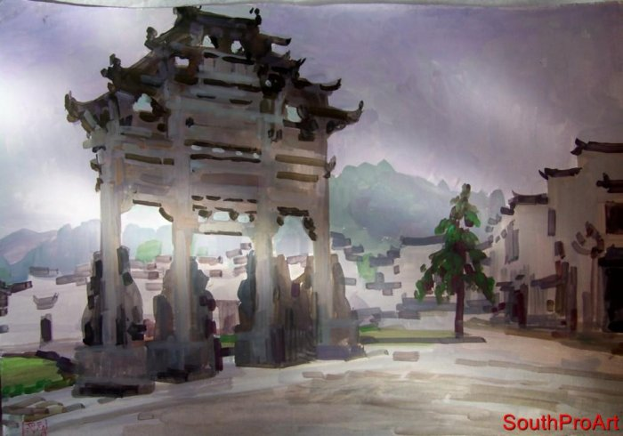 ZU MING HO~ORIGINAL PAINTING~Goache China Ting Jiang HS