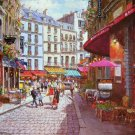 SAM PARK~PARIS CAFE~ behrens EMBELLISHED CANVAS HS&#