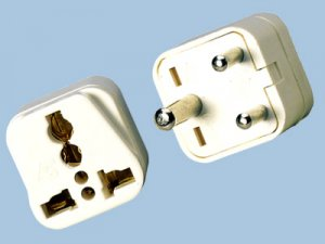 India Universal Plug Adapter - 3 Round Prong Plug Adapter Fits To Plugs from most countries