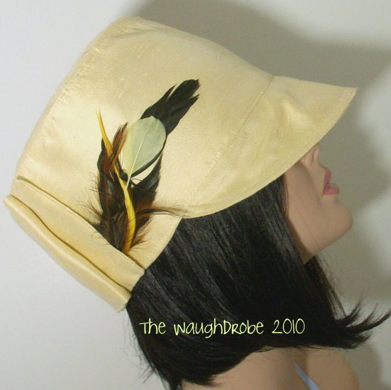 Buttermilk Yellow Linen Look Cloche with Feathers, Spring, Summer, The Milly