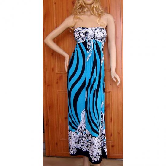 BLUE WHITE BLACK 70s RETRO PRINT SUMMER MAXI BEACH DRESS UK SIZE 14, US SIZE 10