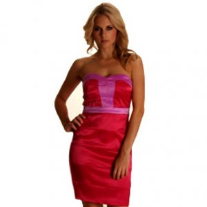 HOT PINK COLOR BLOCK BODYCON BODY CON PARTY CLUBWEAR PROM EVENING MINI DRESS UK SIZE 10, US SIZE 6