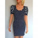 NAVY BLUE WHITE SPOT POLKA DOT PRINT BODYCON BODY CON CLUBWEAR MINI PARTY TOP DRESS UK 10, US 6