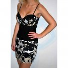 ELISE RYAN TOPSHOP BLACK NUDE WHITE FLORAL MINI BODYCON BODY CON COCKTAIL PARTY DRESS UK 14, US 10