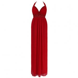 Dress on Halterneck Grecian Long Summer Maxi Evening Prom Dress Uk 8 10  Us 4 6