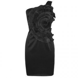 WOMENS BLACK FLOWER ONE SHOULDER BODYCON BODY CON EVENING COCKTAIL PROM PARTY DRESS UK 10, US 6