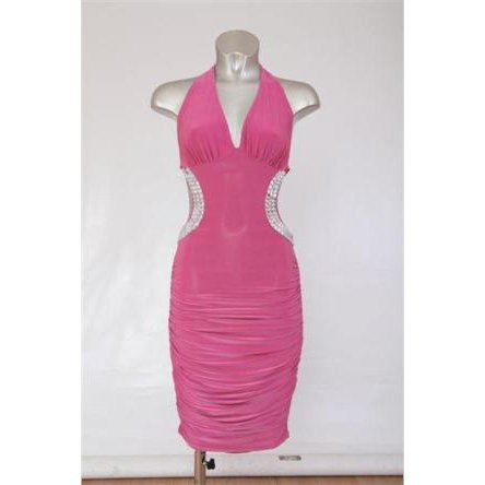 CERISE PINK BACKLESS JEWEL HALTERNECK EVENING MINI CLUBWEAR BODYCON PARTY DRESS UK 8-10, US 4-6