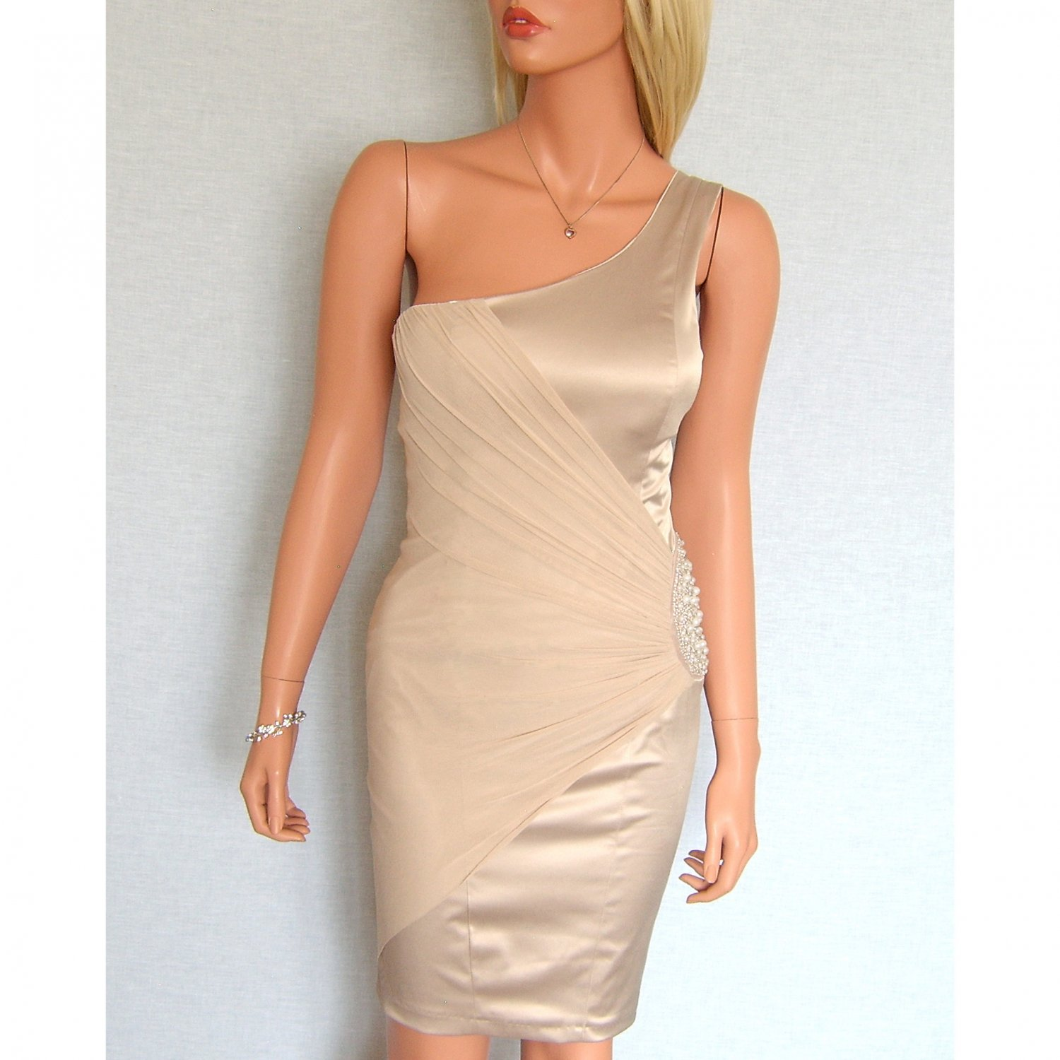 ELISE RYAN TOPSHOP NUDE PEARL BEADED EVENING BODYCON MINI COCKTAIL PARTY PROM DRESS UK 14, US 10