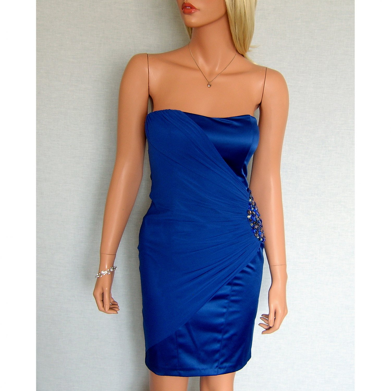 ELISE RYAN TOPSHOP BLUE JEWEL EVENING BODYCON MINI COCKTAIL CLUBWEAR PARTY PROM DRESS UK 14, US 10