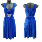 WOMENS BLUE BUCKLE EVENING COCKTAIL MINI CLUBWEAR PARTY PROM DRESS UK 8-10, US 4-6