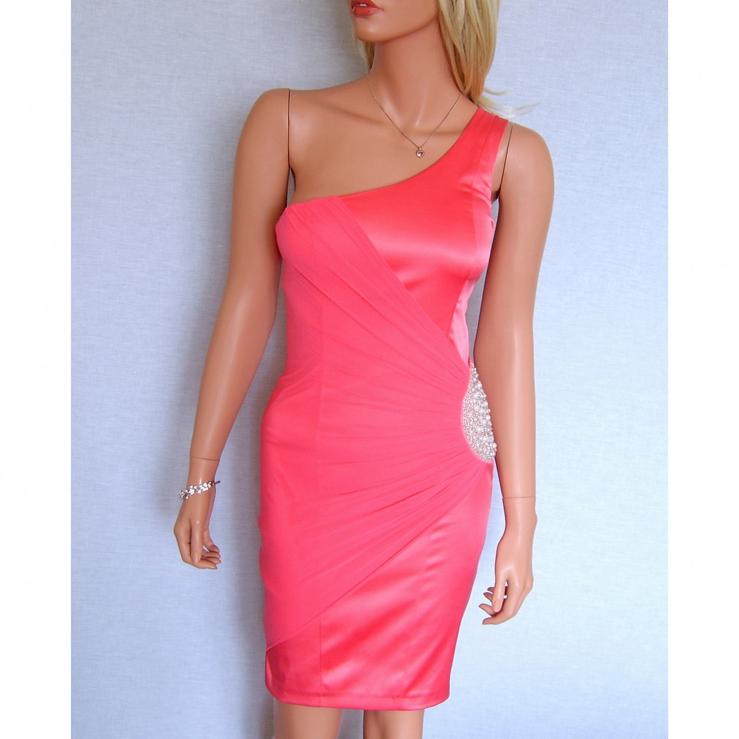 ELISE RYAN TOPSHOP CORAL PEARL BEADED EVENING BODYCON MINI COCKTAIL PARTY PROM DRESS UK 14, US 10