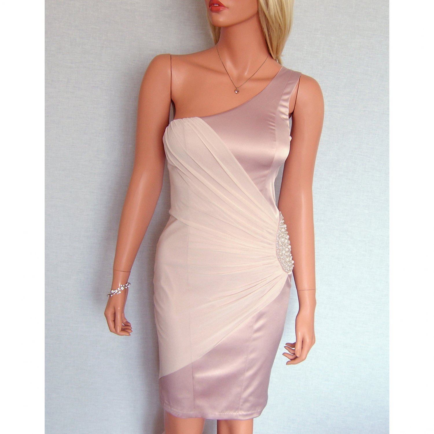 ELISE RYAN TOPSHOP PINK PEARL BEADED EVENING BODYCON MINI COCKTAIL PARTY PROM DRESS UK 14, US 10