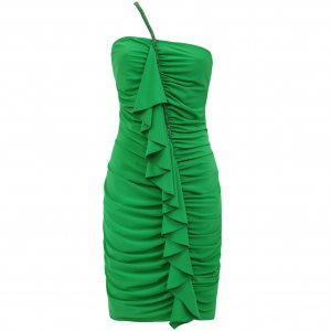 GREEN RUFFLE FRILL BEADED EVENING MINI BODYCON PROM COCKTAIL CLUBWEAR PARTY DRESS UK 10-12, US 6-8