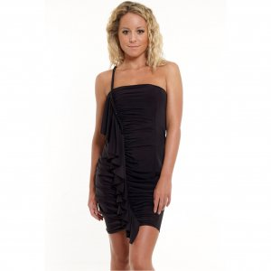BLACK RUFFLE FRILL BEADED EVENING MINI BODYCON PROM COCKTAIL CLUBWEAR PARTY DRESS UK 8-10, US 4-6