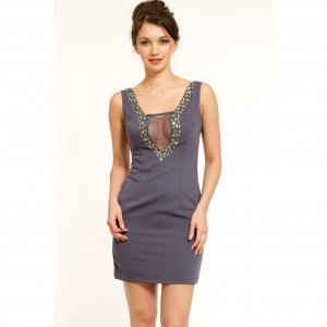 GREY JEWEL BEADED MESH CUT OUT EVENING PARTY COCKTAIL CLUBWEAR MINI BODYCON SHIFT DRESS UK 10, US 6