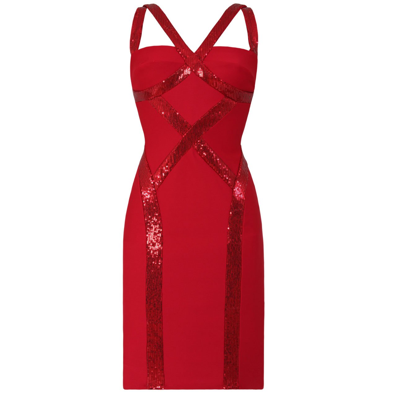 RED SEQUIN BANDAGE EVENING COCKTAIL BODYCON CLUBWEAR MINI PROM PARTY DRESS UK 14, US 10