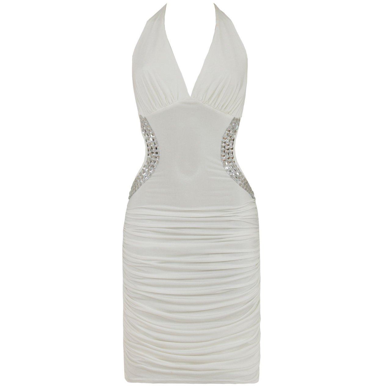 WHITE BACKLESS JEWEL HALTERNECK EVENING MINI CLUBWEAR BODYCON PARTY DRESS UK 12-14, US 8-10