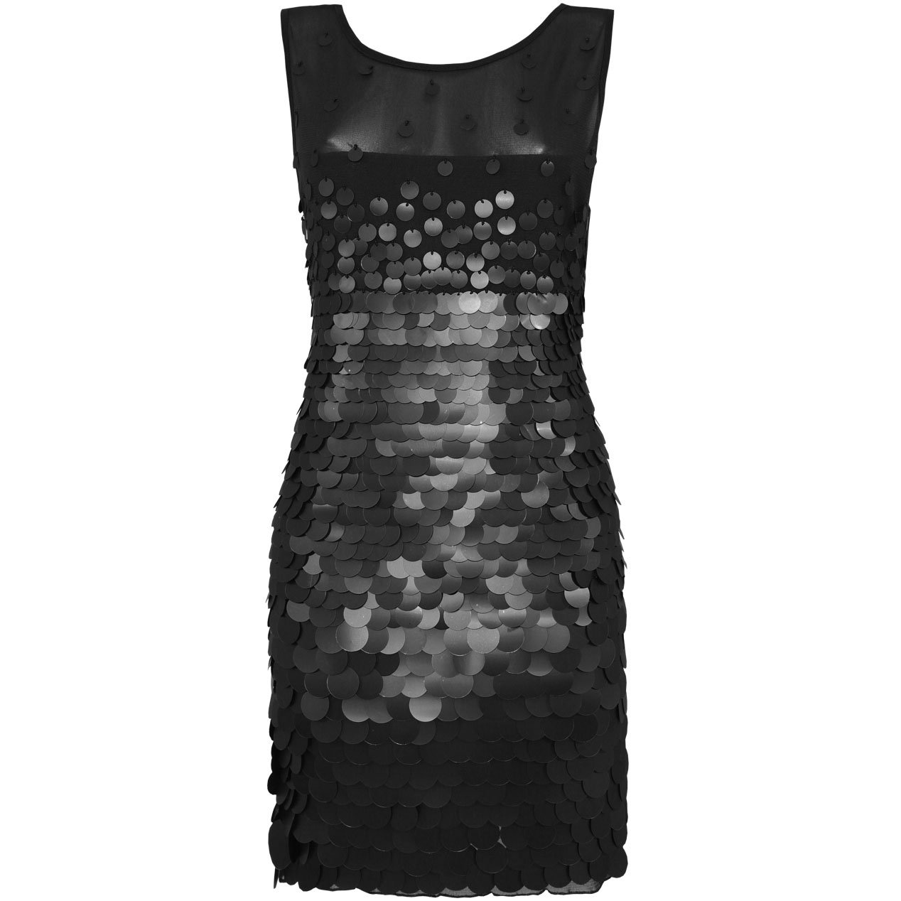 BLACK SEQUIN MESH BODYCON EVENING MINI COCKTAIL CLUBWEAR PARTY PROM DRESS UK SIZE 12-14, US 8-10