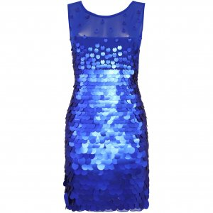 BLUE SEQUIN MESH BODYCON EVENING MINI COCKTAIL CLUBWEAR PARTY PROM DRESS UK SIZE 8-10, US SIZE 4-6
