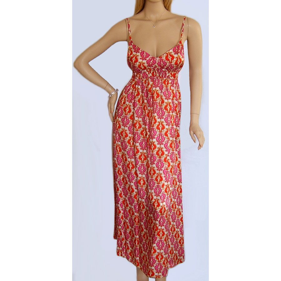 PINK RED & WHITE MAXI BEACH SUMMER HOLIDAY DRESS UK SIZE 8, US SIZE 4