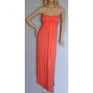 PEACH ORANGE GRECIAN LONG BOHO STRAPLESS JERSEY SUMMER MAXI BEACH HOLIDAY DRESS, UK 12-14, US 8-10
